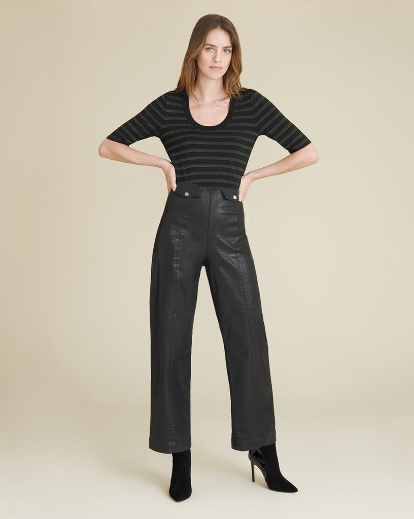 Brinley High Rise Coated Trouser in Black