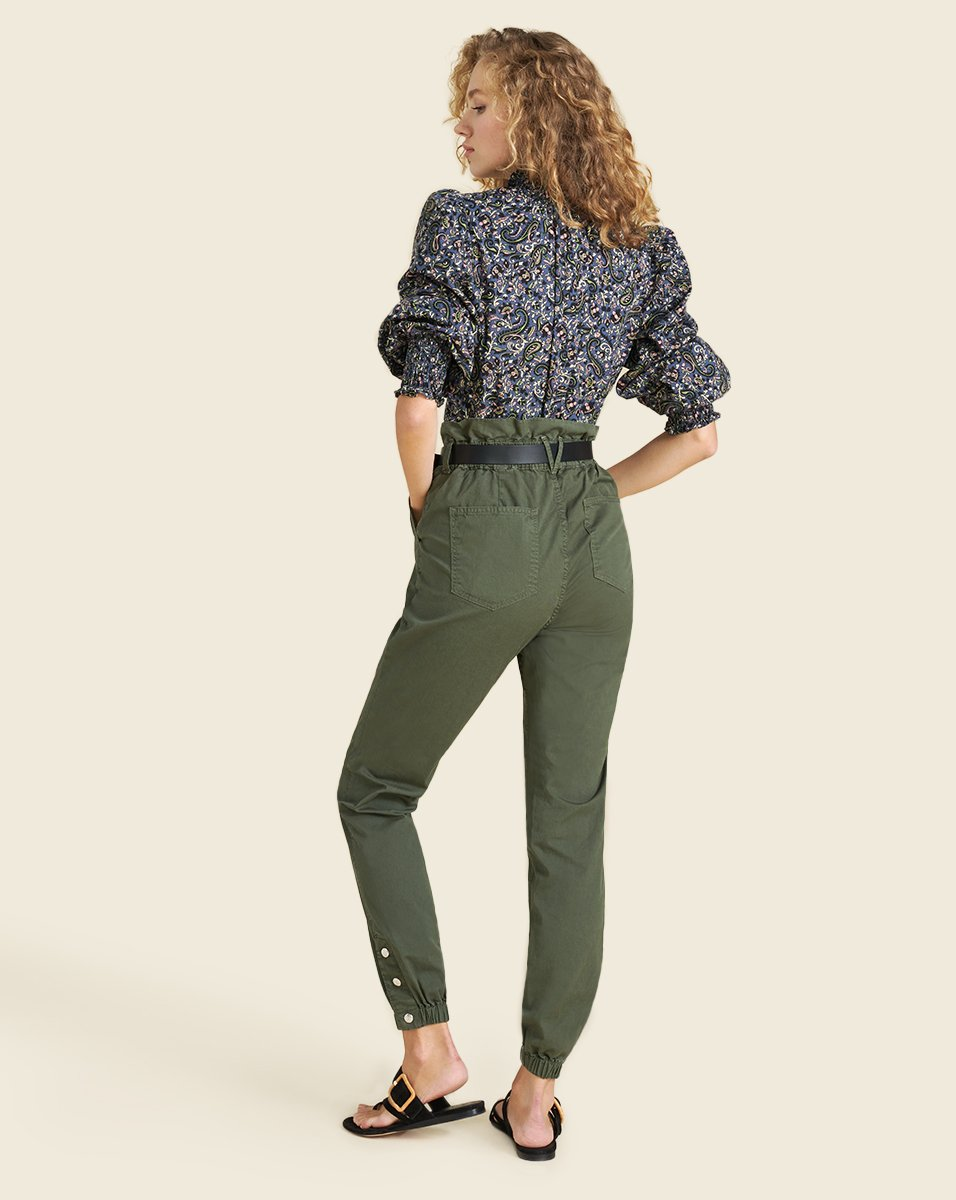 Tedi Elastic Waist Pant in Army Green