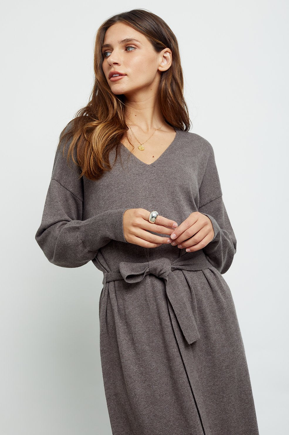 Margot Sweater Dress in Latte