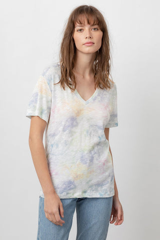 Cara V-Neck in Rainbow Tie Dye