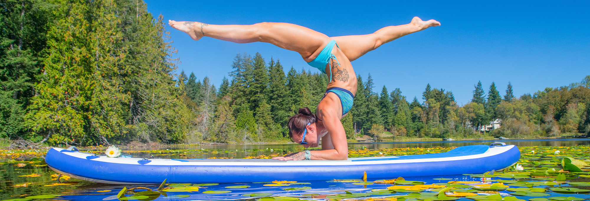 Lindsay in a forearm stand on her paddleboard in a lake