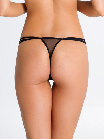 PARAH NOIR Trasparenza lace g-string - The Lingerie Boutique