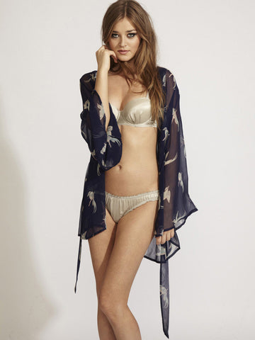 BEAUTIFUL BOTTOMS Oriental Bird silk robe - The Lingerie Boutique