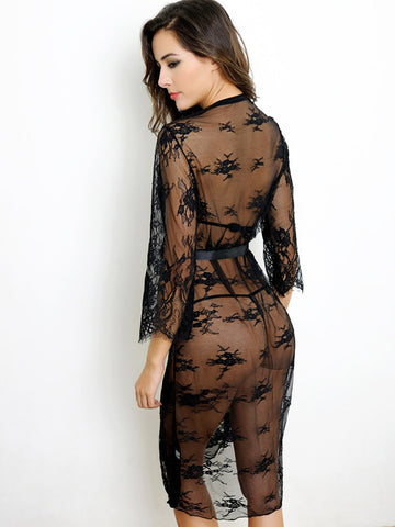 Lingerie Boutique Sheer lace robe - The Lingerie Boutique