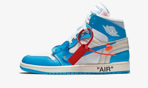 "Air Jordan 1 x Off White ""University Blue"" - zero's world sneakers store shop los angeles melrose fairfax LA l.a. legit authentic cool kicks undefeated round two flight club supreme where to buy sell yeezy yezzy yeezys vlone off white hype sneaker shoes streetwear sneakerhead consignment trade resale best shopping"