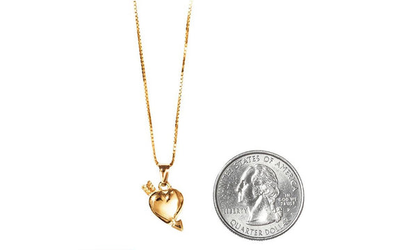 Supreme 14k Gold Heart & Arrow Pendant & Chain