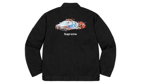 Supreme Cop Car Embroidered Work Jacket - zero's zeros world sneakers hypebeast streetwear street wear store stores shop los angeles melrose fairfax hollywood santa monica LA l.a. legit authentic cool kicks undefeated round two flight club solestage supreme where to buy sell trade consign yeezy yezzy yeezys vlone virgil abloh bape assc off white hype sneaker shoes streetwear sneakerhead consignment trade resale best dopest shopping
