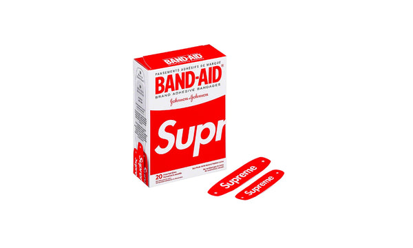 Supreme x Band-Aid Adhesive Bandages - zero's zeros world sneakers hypebeast streetwear street wear store stores shop los angeles melrose fairfax hollywood santa monica LA l.a. legit authentic cool kicks undefeated round two flight club solestage supreme where to buy sell trade consign yeezy yezzy yeezys vlone virgil abloh bape assc off white hype sneaker shoes streetwear sneakerhead consignment trade resale best dopest shopping