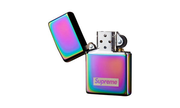Supreme Spectrum Iridescent Zippo - zero's zeros world sneakers hypebeast streetwear street wear store stores shop los angeles melrose fairfax hollywood santa monica LA l.a. legit authentic cool kicks undefeated round two flight club solestage supreme where to buy sell trade consign yeezy yezzy yeezys vlone virgil abloh bape assc off white hype sneaker shoes streetwear sneakerhead consignment trade resale best dopest shopping