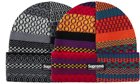 Supreme Multi Pattern Beanie - zero's zeros world sneakers hypebeast streetwear street wear store stores shop los angeles melrose fairfax hollywood santa monica LA l.a. legit authentic cool kicks undefeated round two flight club solestage supreme where to buy sell trade consign yeezy yezzy yeezys vlone virgil abloh bape assc off white hype sneaker shoes streetwear sneakerhead consignment trade resale best dopest shopping