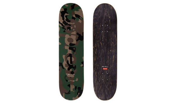 Supreme Camo Logo Skateboard - zero's zeros world sneakers hypebeast streetwear street wear store stores shop los angeles melrose fairfax hollywood santa monica LA l.a. legit authentic cool kicks undefeated round two flight club solestage supreme where to buy sell trade consign yeezy yezzy yeezys vlone virgil abloh bape assc off white hype sneaker shoes streetwear sneakerhead consignment trade resale best dopest shopping