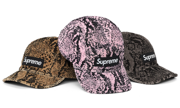Supreme Snakeskin Corduroy Camp Cap - zero's zeros world sneakers hypebeast streetwear street wear store stores shop los angeles melrose fairfax hollywood santa monica LA l.a. legit authentic cool kicks undefeated round two flight club solestage supreme where to buy sell trade consign yeezy yezzy yeezys vlone virgil abloh bape assc off white hype sneaker shoes streetwear sneakerhead consignment trade resale best dopest shopping