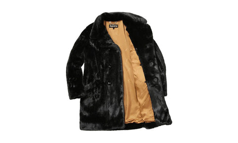Supreme Faux Fur Double Breasted Coat