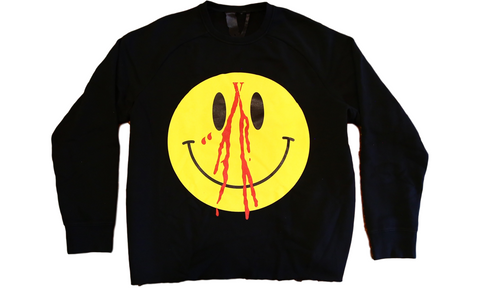 VLONE Smiley Face Crewneck - zero's zeros world sneakers hype streetwear street wear store stores shop los angeles melrose fairfax hollywood santa monica LA l.a. legit authentic cool kicks undefeated round two flight club solestage supreme where to buy sell trade consign yeezy yezzy yeezys vlone virgil abloh bape assc off white hype sneaker shoes streetwear sneakerhead consignment trade resale best dopest shopping