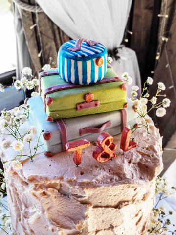 Luggage cake topper