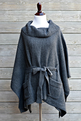 Ribbed Cable Knit Poncho - Charcoal