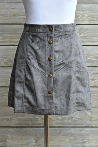 Button-Up Faux Suede Skirt - Gray