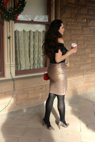 Sparkle and Shine Pencil Skirt - Rose Gold