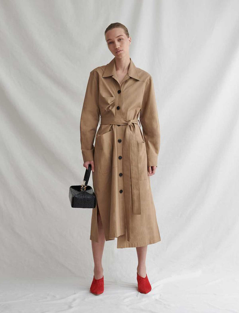 Madison Shirt Dress in Camel