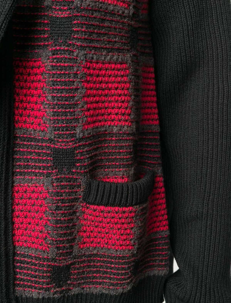 Shawl-Collared Wool Cardigan in Black