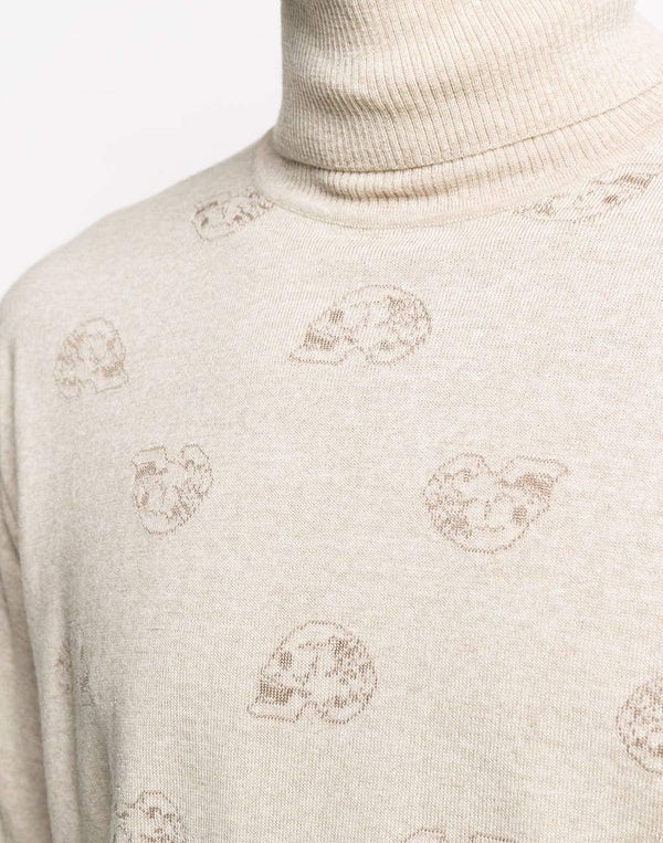 Turtleneck Wool-Blend Sweater In Cream