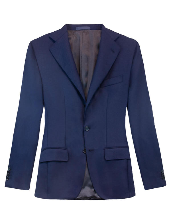 Single-Breasted Twill Wool Blazer in Navy