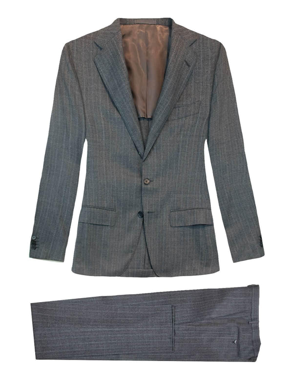 Herringbone Wool 2-piece AIDA Suit in Slate Grey