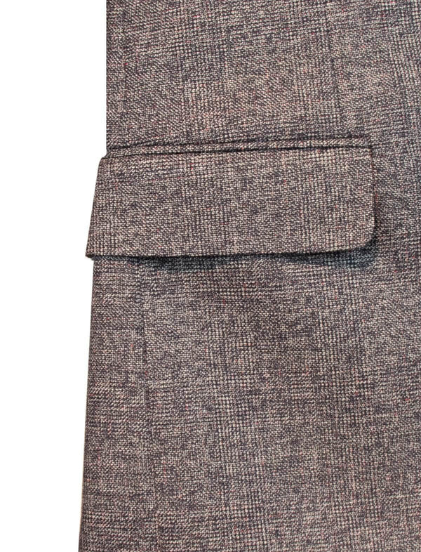 Woven Wool 2-Piece AIDA Suit in Brown Black