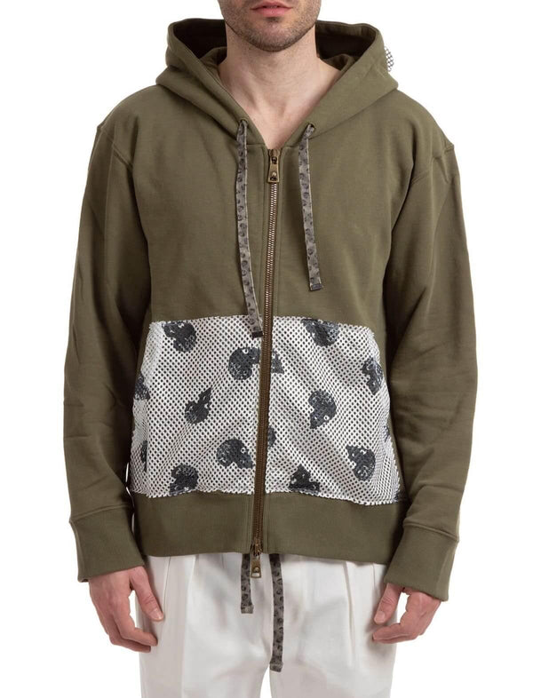 Cotton Front Zip Pocket Hoodie in Army Green - CLOSET Singapore
