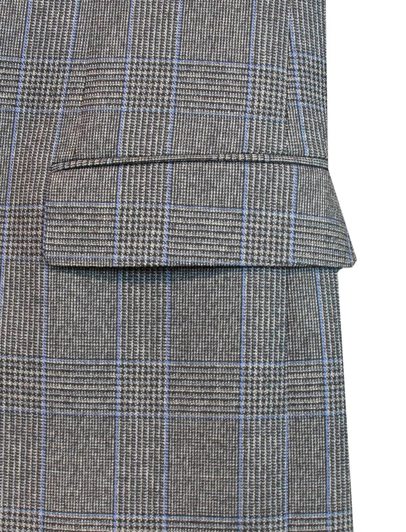 Glen Checked Wool 2-Piece AIDA Suit in Grey Blue