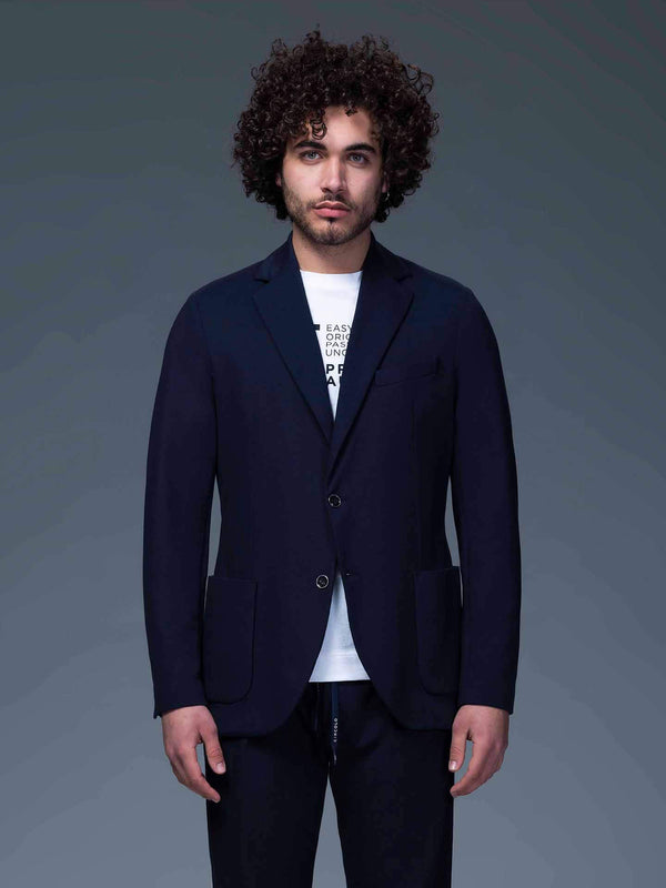 Single-breasted Cotton Piqué Blazer in Navy - CLOSET Singapore