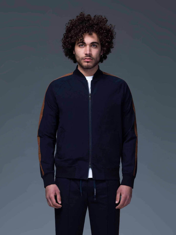 Cotton Jersey Bomber Jacket in Navy - CLOSET Singapore