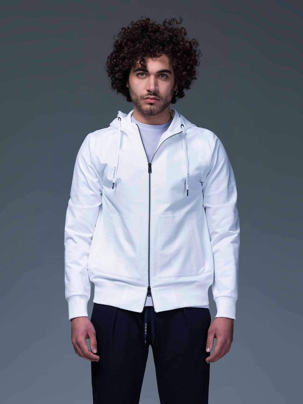 Cotton-blend Hoodie Jacket in White - CLOSET Singapore