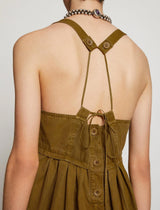 Washed Cotton Apron Dress In Moss
