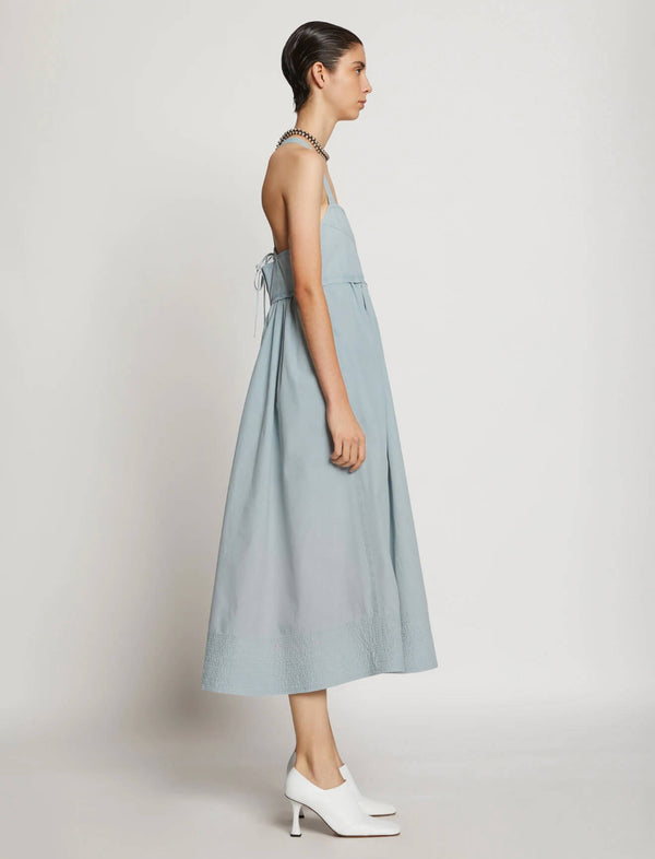 Washed Cotton Apron Dress In Seal Grey