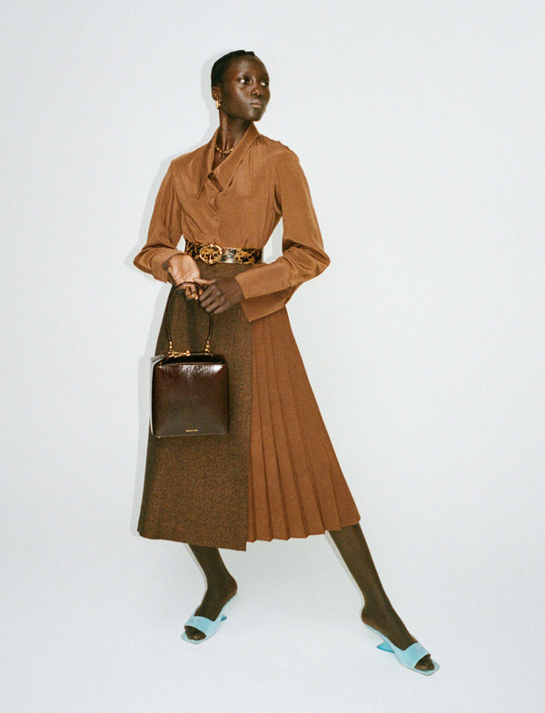 Romola Asymmetrical Shirt in Brown