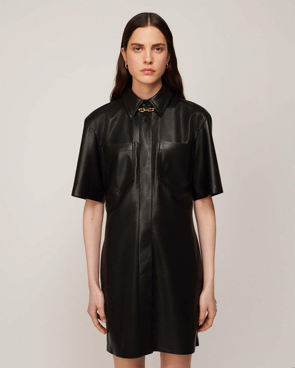 Berto Shirt Dress in Black