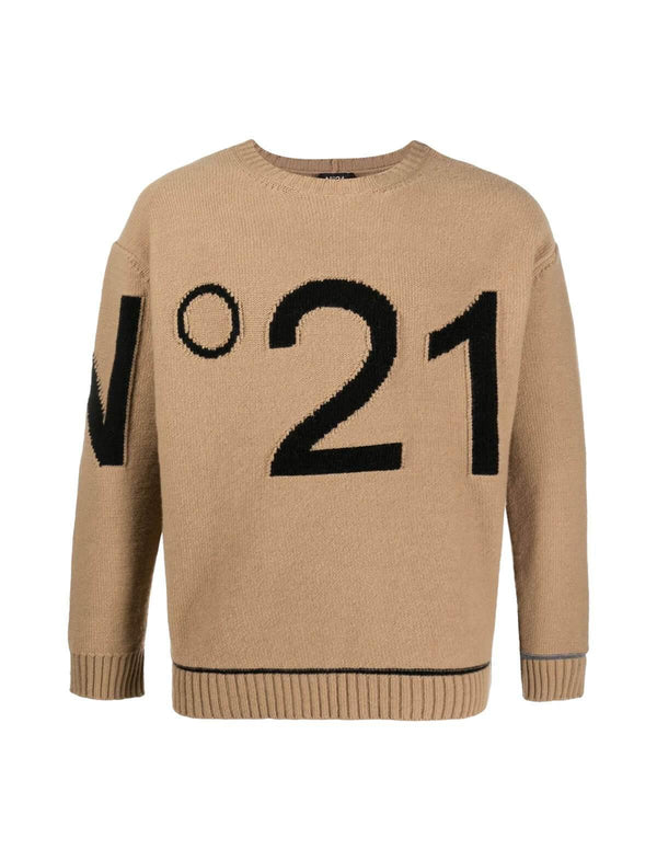Knitted Logo-Intarsia Wool Sweater in Warm Beige