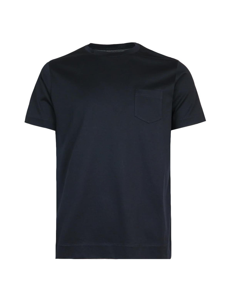 Cotton T-Shirt with Front Pocket in Black