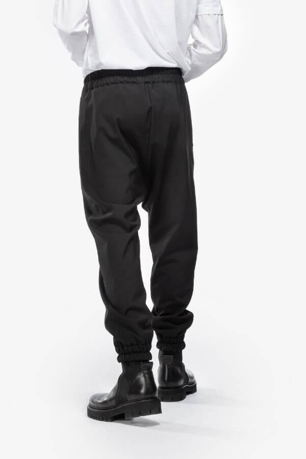 Woven Drawstring Wool Pants In Black