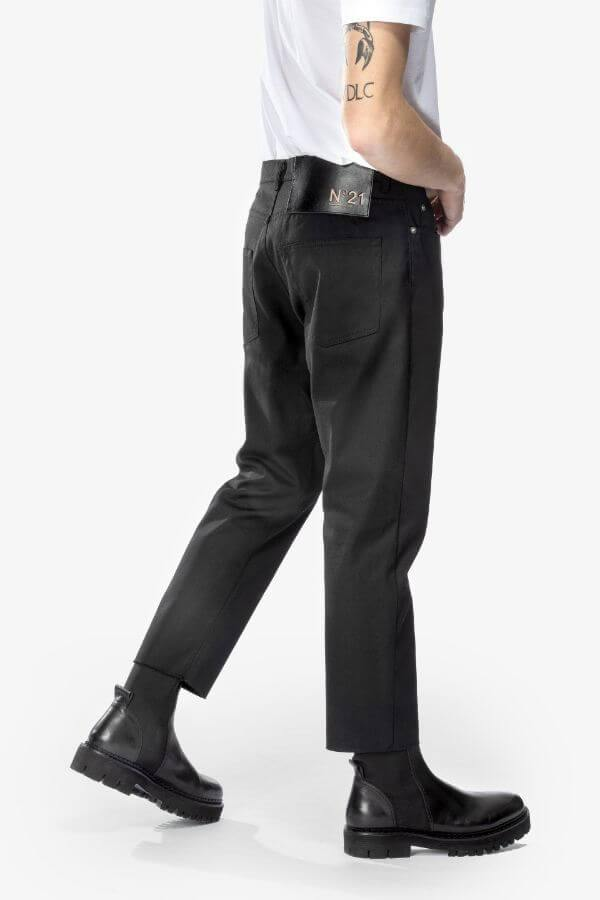 Low-rise Straight Cotton-Blend Jeans In Black