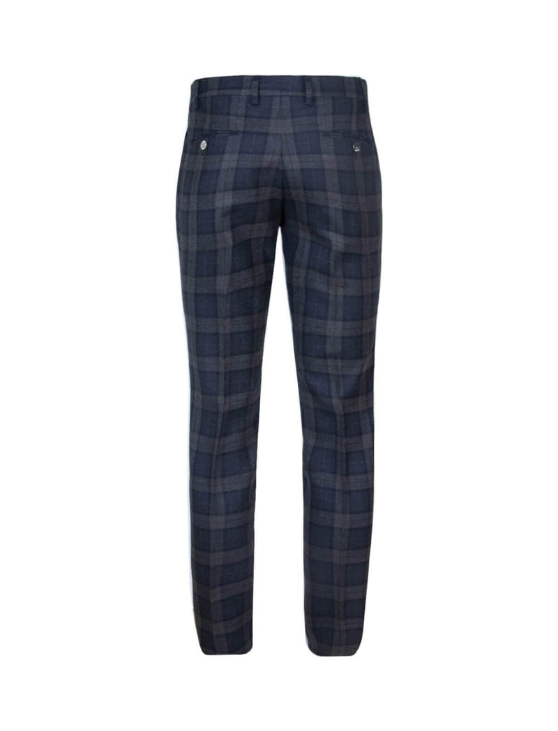 2-Piece Lana Wool Suit in Navy and Grey Plaid - CLOSET Singapore