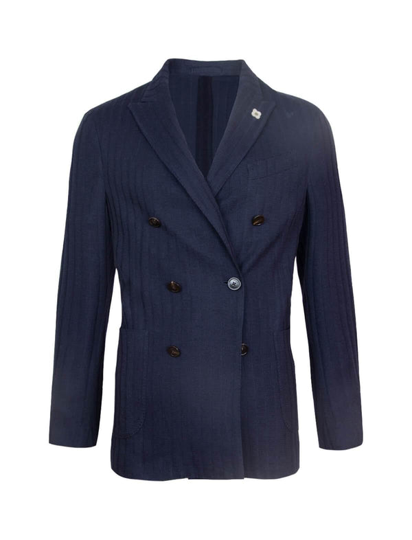 Double-Breasted Wool Blend Knit Blazer in Navy - CLOSET Singapore