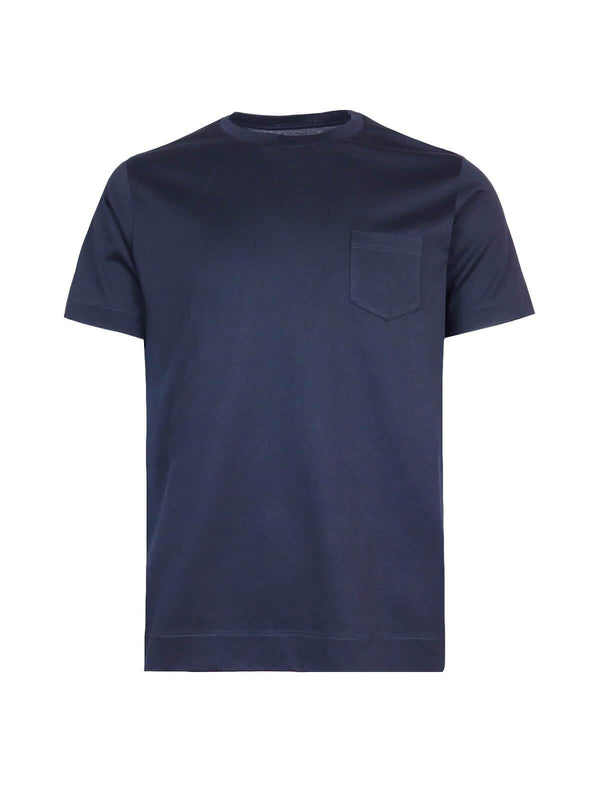 Cotton T-Shirt with Front Pocket in Navy Blue