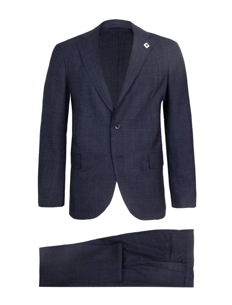 2-Piece Wool Blend Easy Wear Suit in Glen Plaid Navy - CLOSET Singapore