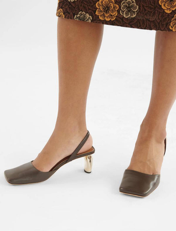Luna Slingback Heels in Leather Dark Brown