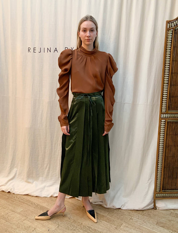 Sofia Woven Blouse in Brown