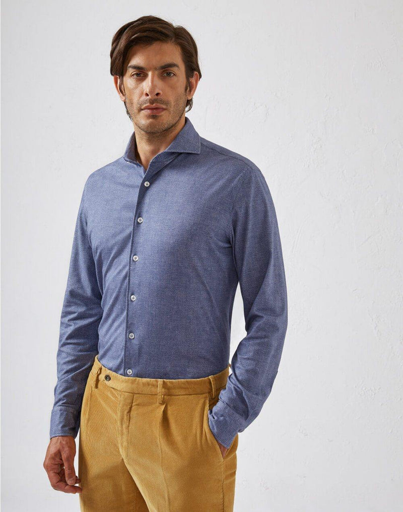 Cotton Jersey Shirt in Blue Denim Print