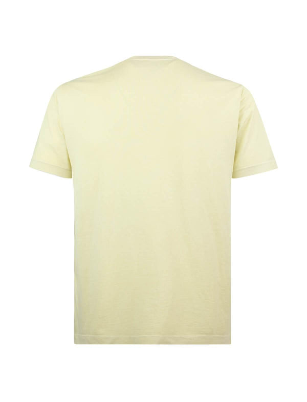 Crew Neck Cotton T-Shirt in Pale Yellow - CLOSET Singapore