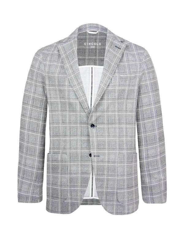 Single-breasted Cotton Piqué Blazer in Wales Check - CLOSET Singapore